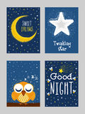 Good Night Greeting Card set in doodle style. Royalty Free Stock Photography