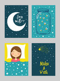 Good Night Greeting Card set in doodle style. Royalty Free Stock Image