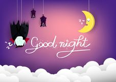 Good night, Halloween concept, vampire and bats sleeping with moon on sky cartoon puppet characters, poster card abstract vector illustration