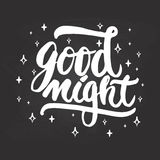 Good night - hand drawn lettering phrase isolated on the chalkboard background.. Fun brush ink inscription for photo overlays, greeting card or t-shirt print Royalty Free Stock Photos