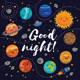 Good night - hand drawn poster with planets, stars, comets. Stock Photo