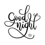 Good Night Hand Lettering. Modern Calligraphy Greeting Card. Vector Illustration. Chalkboard Style Poster stock illustration