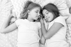 Good night and healthy sleep. little girls have a good night in bedroom. little girls have healthy sleep. time to relax.  stock photos
