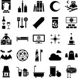 Good night icons. This is a collection of icons related with the night objects and activities Stock Photo