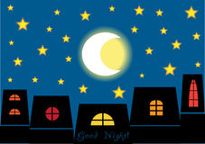 Good night illustration Royalty Free Stock Images