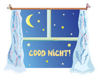Good night illustration with cute window, stars Royalty Free Stock Photography