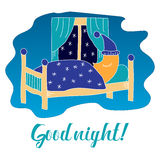 Good night  illustration with sleeping moon. Royalty Free Stock Photos