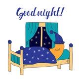 Good night  illustration with sleeping moon. Stock Photography