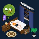 Good Night Isometric Composition. On dark background with lying man doing counting sheep in bed vector illustration Stock Photography