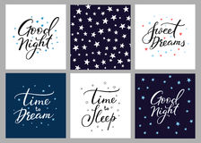 Good night lettering postcard set Stock Photo