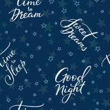 Good night lettering seamless pattern Stock Photo