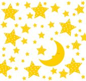 Good night! Moon sleeps well. Cute drawing for children. The moon sleeps very well. Cute drawing for children with stars and moon. Vector file Stock Photo