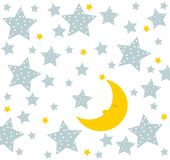 Good night! Moon sleeps well. Cute drawing for children. The moon sleeps very well. Cute drawing for children with stars and moon. Vector file Stock Images