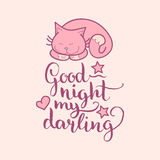 Good Night My Darling hand lettering. Vector cute illustration with cartoon symbols. Beautiful childish background. Royalty Free Stock Photography