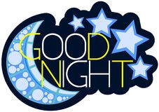 Isolated colorful Good night label. Nice image representing to wish a good night to everyone Royalty Free Stock Photography