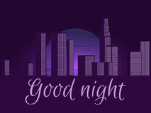 Good night. Night city, cityscape. Night city with an inscription. Vector illustration. Royalty Free Stock Photo