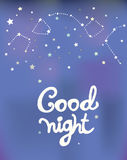Good night poster with constellations and stars Stock Image