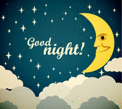 Good night. Retro illustration of a smiling moon wishing good night. EPS10 Royalty Free Stock Photography