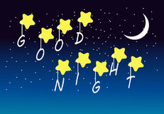 Good night scene. Night scene with crescent moon stock illustration