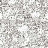 Good night seamless pattern for coloring book. Monochrome background with cute moon, owls, sheep, clouds, stars and houses. Vector illustration Royalty Free Stock Images