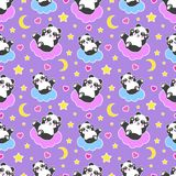 Good Night seamless pattern with cute panda bear, moon, hearts, stars and clouds. Sweet dreams background. Vector. Illustration stock illustration
