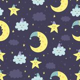 Good Night seamless pattern with cute sleeping moon, stars Stock Photography