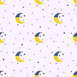 Good Night seamless pattern with cute sleeping moon and stars. Stock Images