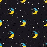 Good Night seamless pattern with cute sleeping moon and stars. Royalty Free Stock Photos