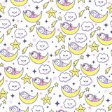 Good Night. Seamless pattern with sleep baby, clouds and stars. Royalty Free Stock Images