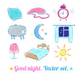 Good Night set Stock Photos