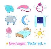 Good Night set Stock Photos