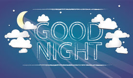 Good Night on the sky. Vector Art Royalty Free Stock Photo