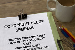 Good night sleep. Relaxation, meditation and proper sleep seminar stock photography