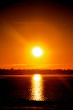 Good night sun over the Ocean in NH Stock Image