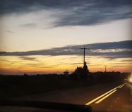 Good night!. Sun, view from my car Royalty Free Stock Image