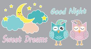 Good night and sweet dreams cute set of stickers with sleeping owls, clouds, moon and stars. Vector illustration. Eps 10 vector illustration