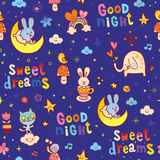 Good night sweet dreams kids seamless pattern. With cute baby animals Royalty Free Stock Photo