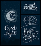 Good night, sweet dreams, sleep tight banners Royalty Free Stock Photography