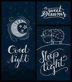 Good night, sweet dreams, sleep tight banners Royalty Free Stock Photography