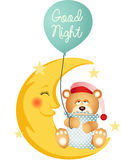 Good night teddy bear sitting on a moon Royalty Free Stock Image