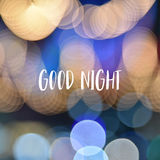 Good night text on colorful bokeh background.  Stock Images