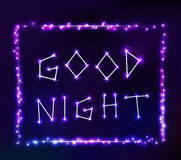 Good night text in space Royalty Free Stock Photos