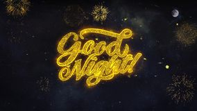 Good Night Text Wishes Reveal From Firework Particles Greeting card.