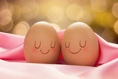 Good night. Two Eggs with love for each other, Valentine Day Or Wedding Day Concept Royalty Free Stock Images