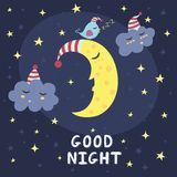 Good night vector card with the cute sleeping moon, clouds and a bird Royalty Free Stock Photos