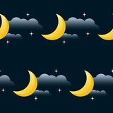 Good night vector seamless pattern background. Cartoon moon, sta. R and cloud  on black background. Good night and sweet dreams theme Stock Photo