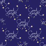 Good night. Vector seamless pattern of handwritten words and stars. Stock Photography