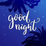 Good night. Wish before sleep, inspirational quote on blue night sky background with palm tree silhouettes. Good night. Wish before sleep, inspirational quote Royalty Free Stock Image