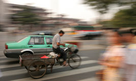 The good old days. An old fashioned tricycle in Xi'an,China stock image