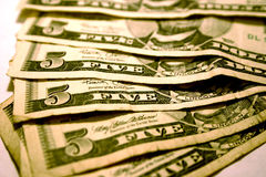 Good Old Five Dollar Bills. Five Dollar Bills Royalty Free Stock Photos